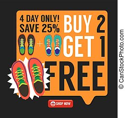 Buy 2 Get 1 Free Sneakers Promotion Campaign Vector Illustration