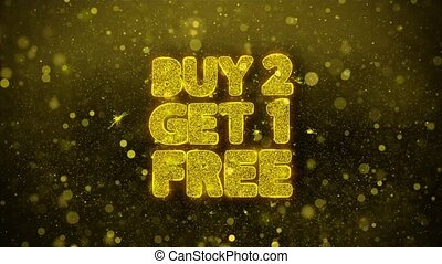 Buy 2 Get 1 Free Greetings card Abstract Blinking Golden Sparkles Glitter Firework Particle Looped Background. Gift, card, Invitation, Celebration, Events, Message, Holiday, Festival.
