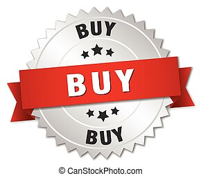 buy 3d silver badge with red ribbon