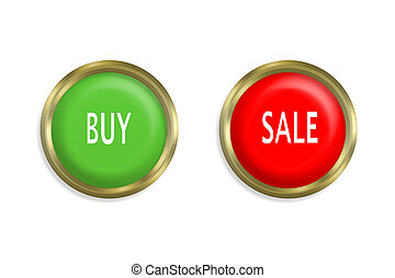 buy and sale button on white background