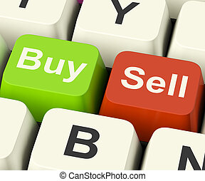 Buy And Sell Keys Representing Business Trade Or Stocks...