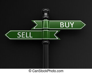 Buy and Sell pointers on signpost. Image with clipping path