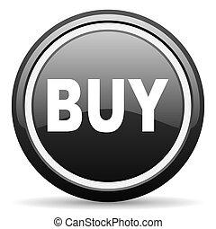 buy black glossy icon on white background