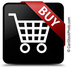 Buy black square button red ribbon in corner