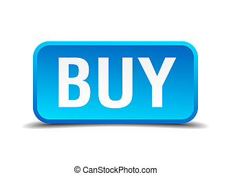 buy blue 3d realistic square isolated button