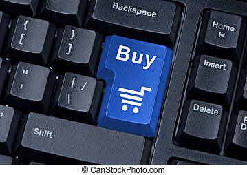 Buy blue button computer keyboard internet concept.