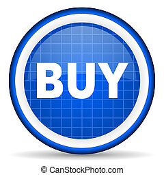 buy blue glossy icon on white background