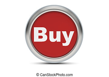 3d render of a buy button on white background
