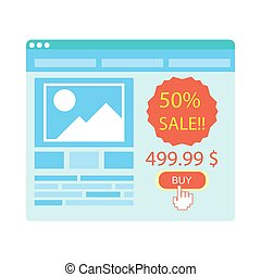 Buy button on blue website purchase with 50 percent sale -...