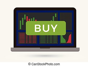 Buy button on cryptocurrency candlestick chart