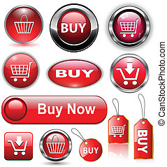 Buy buttons, icons set. - Buy icons buttons set, vector...