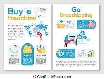 Buy franchise brochure template. Go dropshipping. Startup strategy. Flyer, booklet, leaflet concept, flat illustrations. Vector page cartoon layout for magazine. advertising invitation with text space