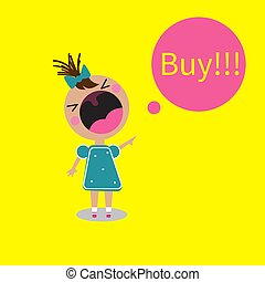 Buy girl screaming, crying child with open mouth. Vector ...