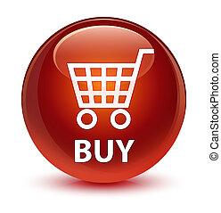 Buy glassy brown round button
