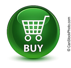Buy glassy soft green round button