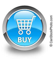 Buy glossy cyan blue round button