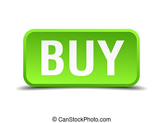 Buy green 3d realistic square isolated button