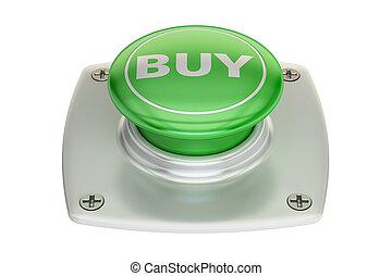 Buy green button, 3D rendering