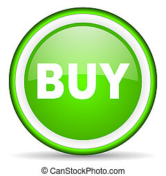 buy green glossy icon on white background