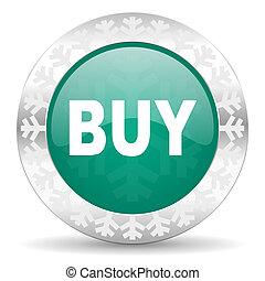 buy green icon, christmas button