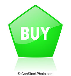 buy green pentagon web glossy icon