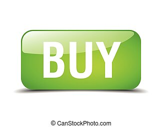 buy green square 3d realistic isolated web button