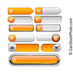 Buy high-detailed web button collection. - Buy orange design...