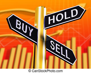 Buy Hold And Sell Signpost Representing Stocks 3d Illustration