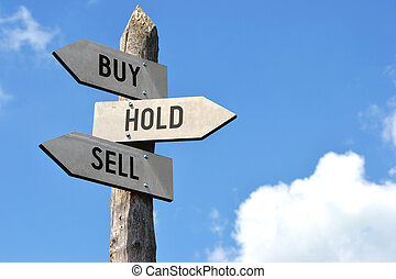 Buy, hold, sell signpost