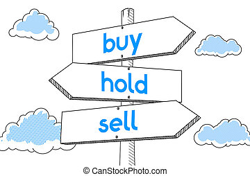 Buy, hold, sell - signpost, white background