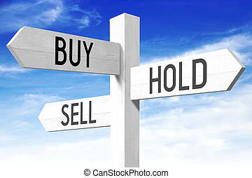 Buy, hold, sell - wooden signpost