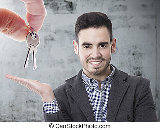 buy house, hand with keys and commercial agent