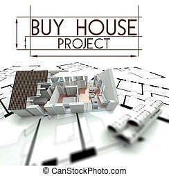 Buy house project with render of building