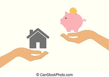 buy house real estate price piggy bank change concept with human hands