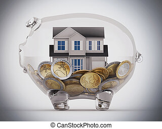 Buy house with the savings - House and money in a piggybank...