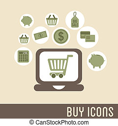 buy icons over pink background vector illustration