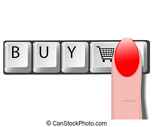 """Finger presses Enter key with shopping cart icon. Each key is on its own layer, so you can easily change """"BUY"""" to your own word, or change the icon. Buy it!"""