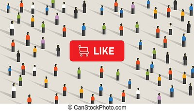 Buy likes in social media to get attention from the crowd. Shopping cart in button