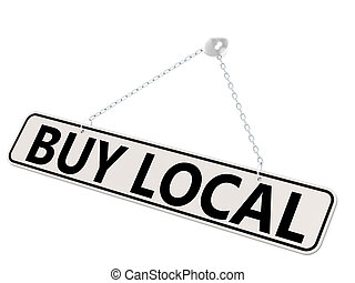 Buy local banner isolated on white