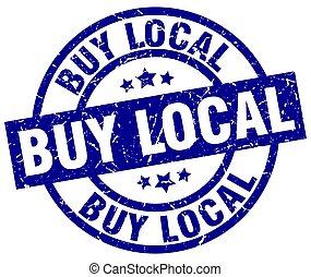 buy local blue round grunge stamp