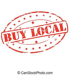 Buy local - Rubber stamp with text buy local inside, vector...