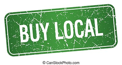 buy local green square grunge textured isolated stamp