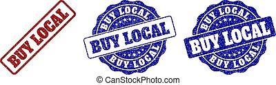 BUY LOCAL Grunge Stamp Seals