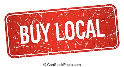buy local red square grunge textured isolated stamp