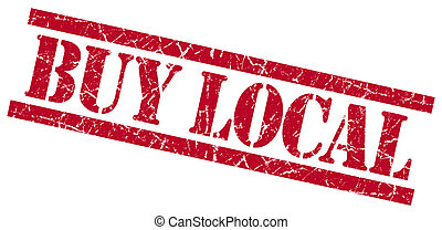 buy local red square grungy isolated rubber stamp