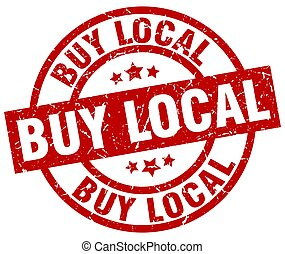 buy local round red grunge stamp