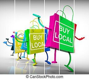 Buy Local Shopping Bags Representing Neighborhood Business and Market