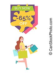 Buy Now -65% Off with Lady Vector Illustration - Buy now...