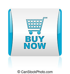 buy now blue and white square web glossy icon