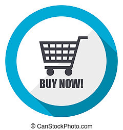 Buy now blue flat design web icon